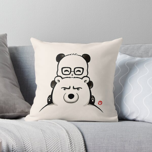 Panda And Polar Bear Throw Pillow