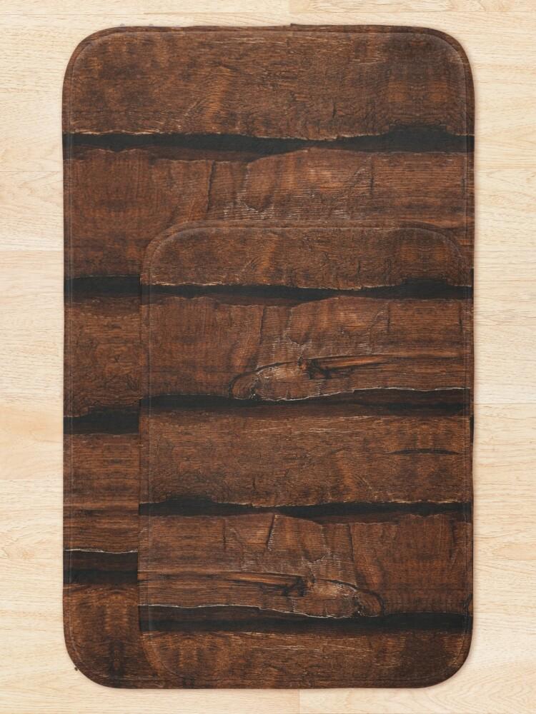 Alternate view of Rustic brown old wood Bath Mat