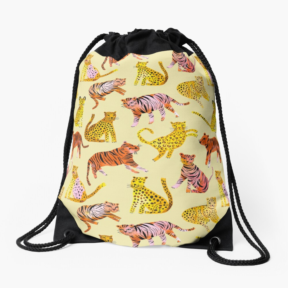 Tigers and Leopards Africa Savannah Drawstring Bag
