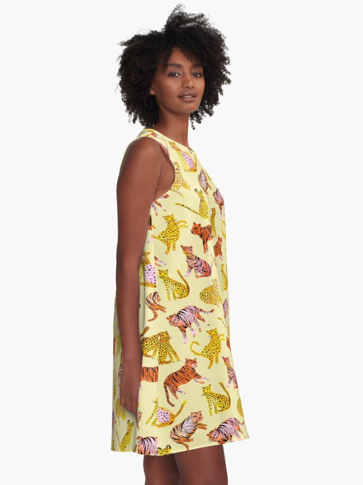 Alternate view of Tigers and Leopards Africa Savannah A-Line Dress
