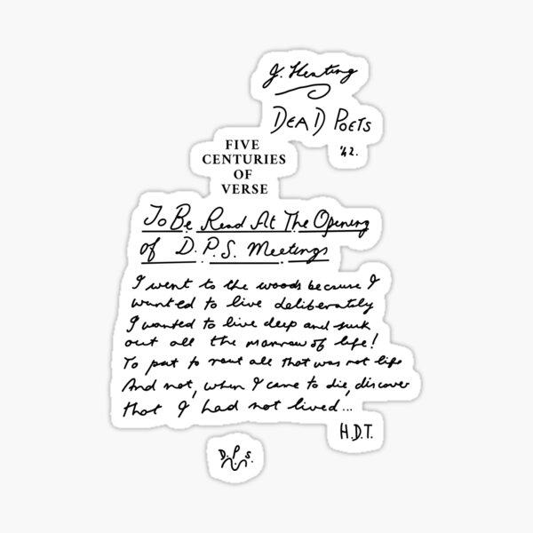 Dead Poets Society cinq siècles de vers noir Sticker