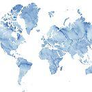 """Blaue Aquarell-Weltkarte mit umrissenen Ländern """"Vance"""" von blursbyai"""
