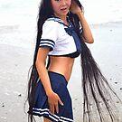 Ange Maya wears School Girl Navy outfit on Beach by ANGE MAYA