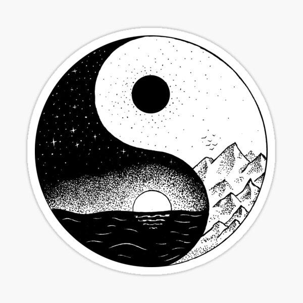 Day and Night. Ying-Yang Sticker
