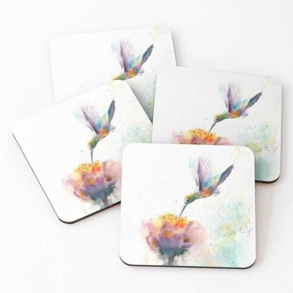 Watercolor Hummingbird with flower Coasters (Set of 4)