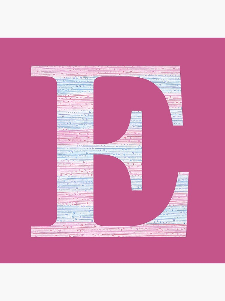 Letter E Blue And Pink Dots And Dashes Monogram Initial by theartofvikki