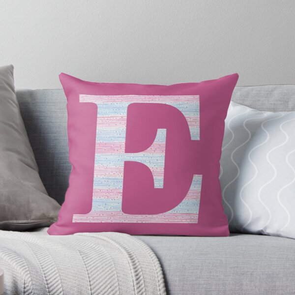 Letter E Blue And Pink Dots And Dashes Monogram Initial Throw Pillow