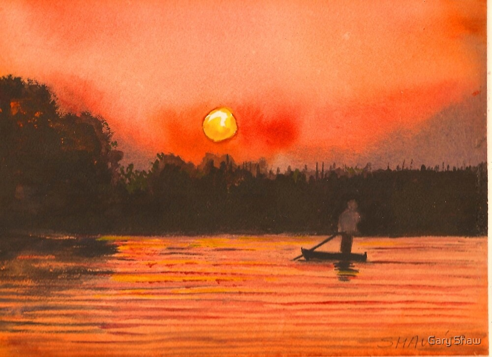 Sunset on the Chobe River Botswana by Gary Shaw