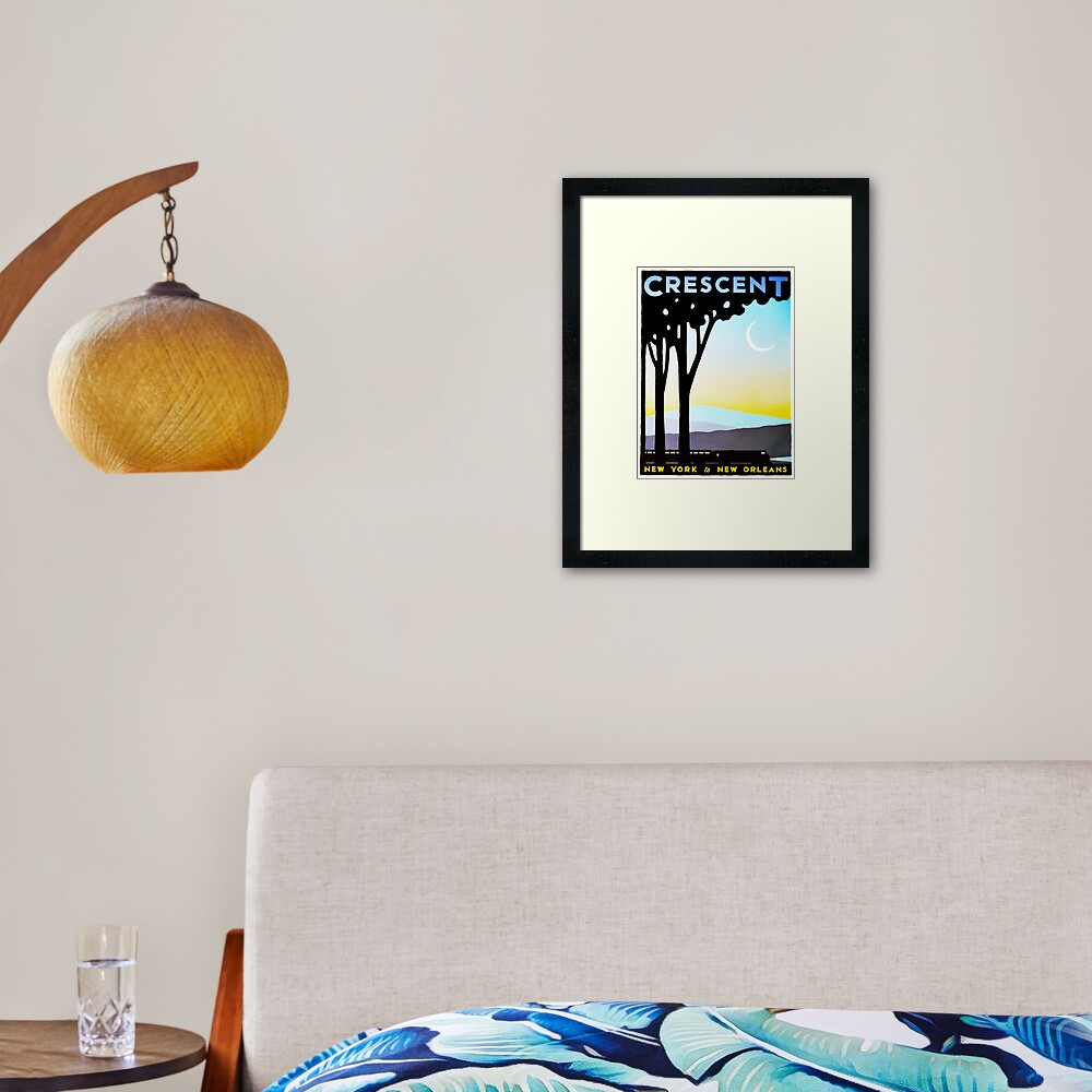 Crescent New York to New Orleans Vintage Railway Travel Framed Art Print