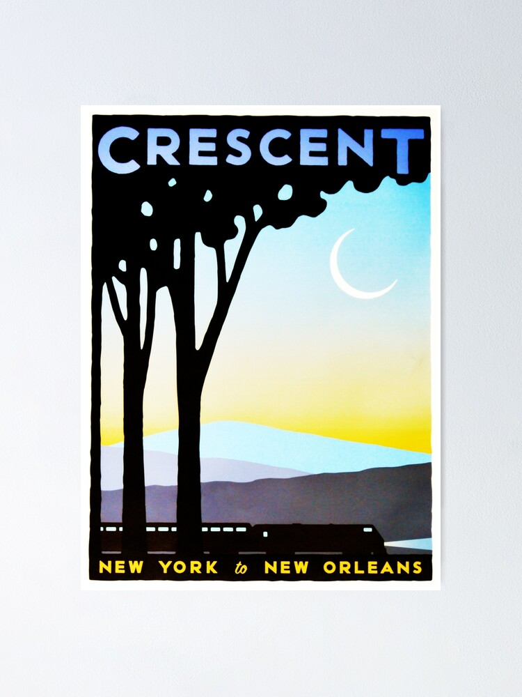 Alternate view of Crescent New York to New Orleans Vintage Railway Travel Poster