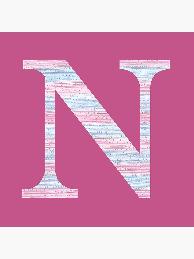 Letter N Blue And Pink Dots And Dashes Monogram Initial by theartofvikki