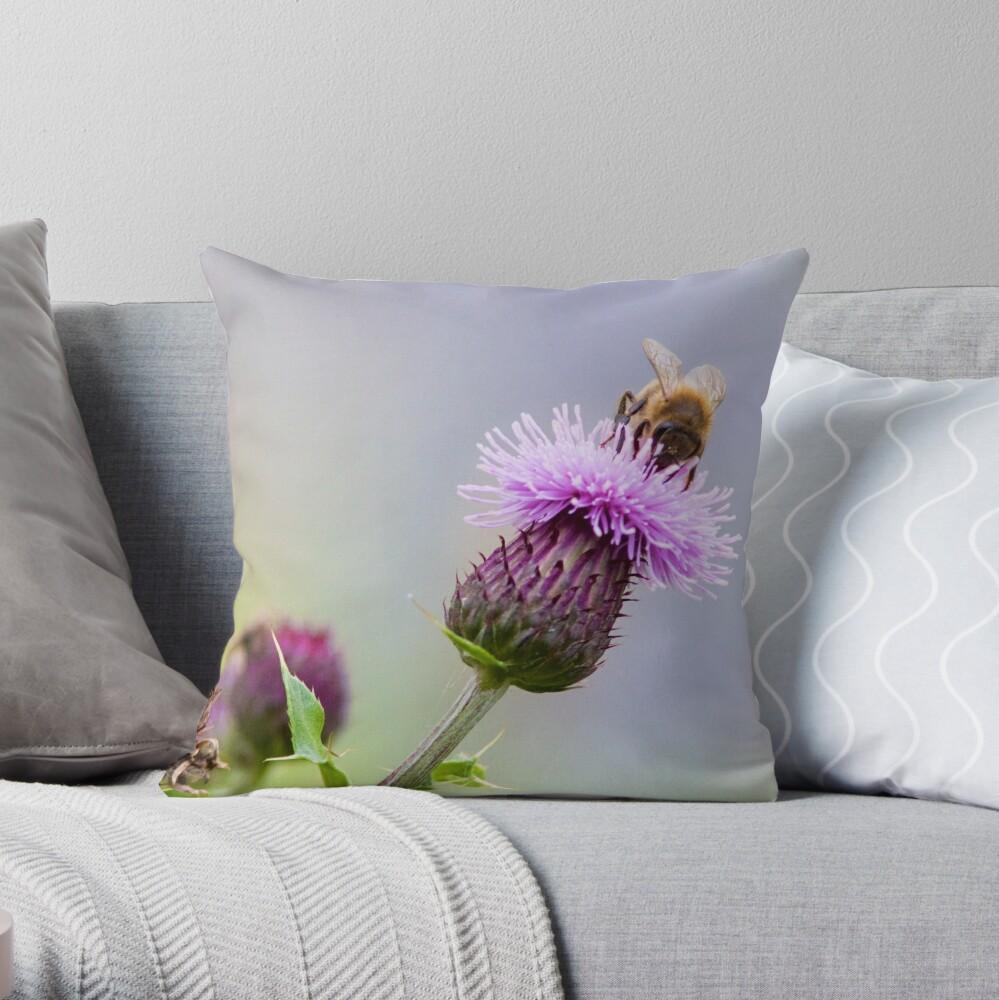 Honey Bee (Apis Mellifera) on a Purple Thistle Throw Pillow