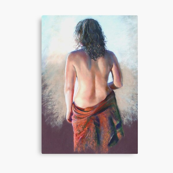 'Girl with Shawl' (Pastel) Canvas Print