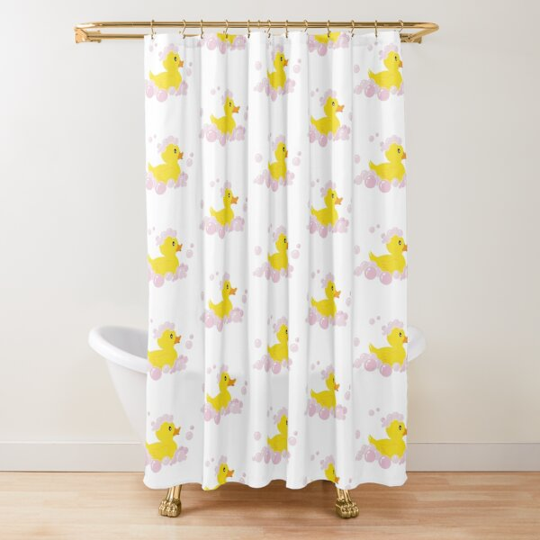 Rubber Ducky in Pink Bubbles  Shower Curtain