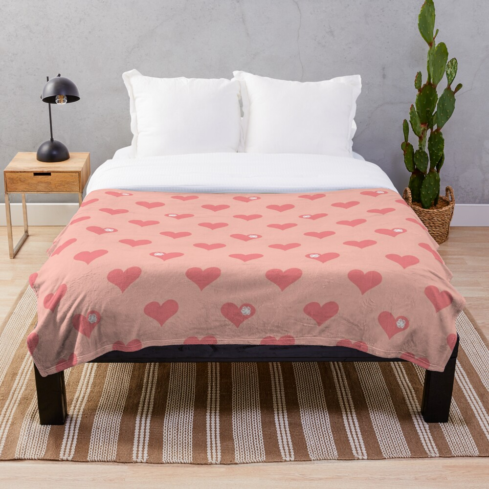 Coral Pink Aloha Love Hearts on Pink Throw Blanket