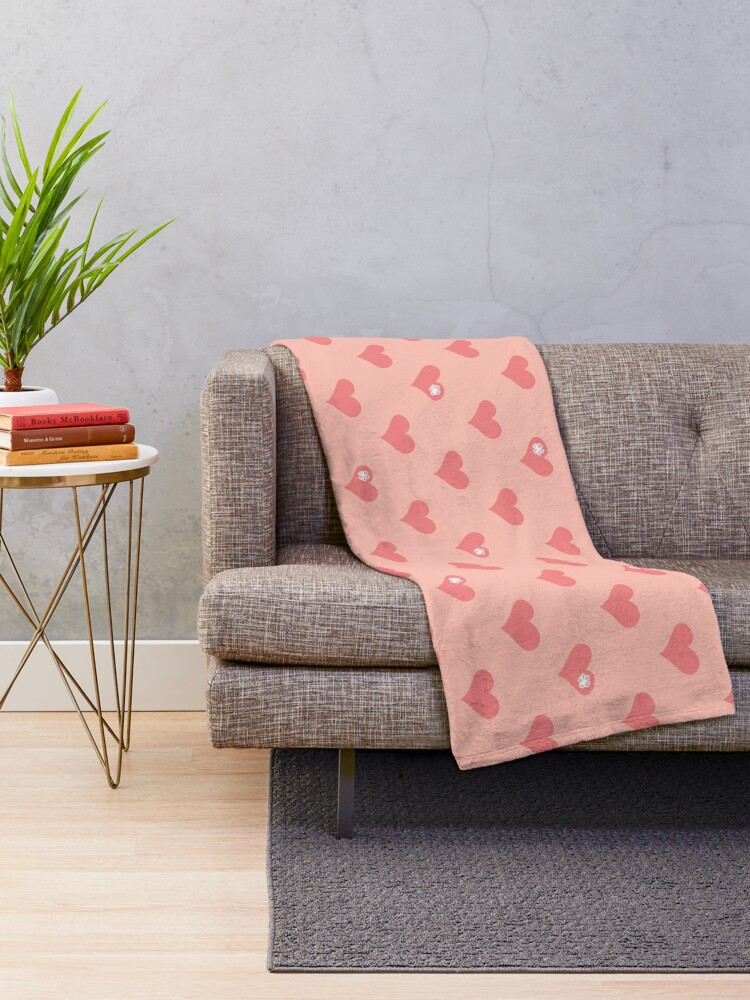 Alternate view of Coral Pink Aloha Love Hearts on Pink Throw Blanket