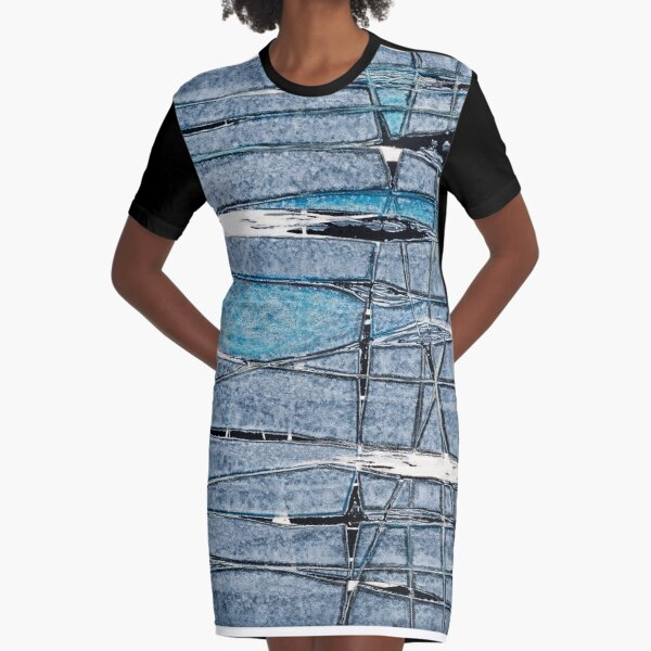 Fractured Blues Graphic T-Shirt Dress