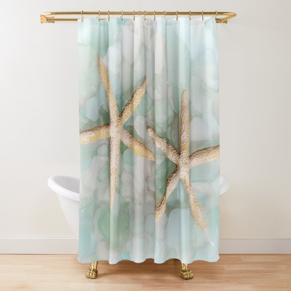 Seaglass and Starfish Shower Curtain