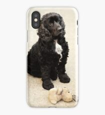 cute black spaniel with bunny iPhone Case/Skin