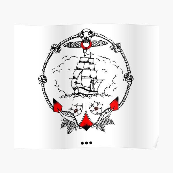 Old School Tattoo Ship Póster