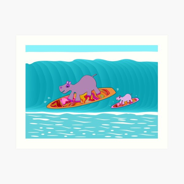 Hippos Surfing - Family Day Out Art Print