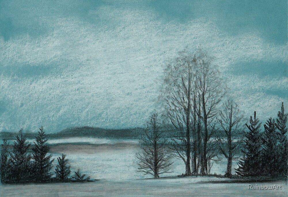 Winter in The Woods - Black And White Conté on Blue Paper by RainbowArt