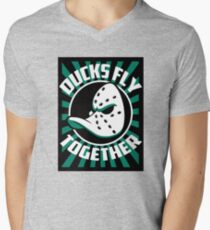 DUCKS FLY TOGETHER Men's V-Neck T-Shirt