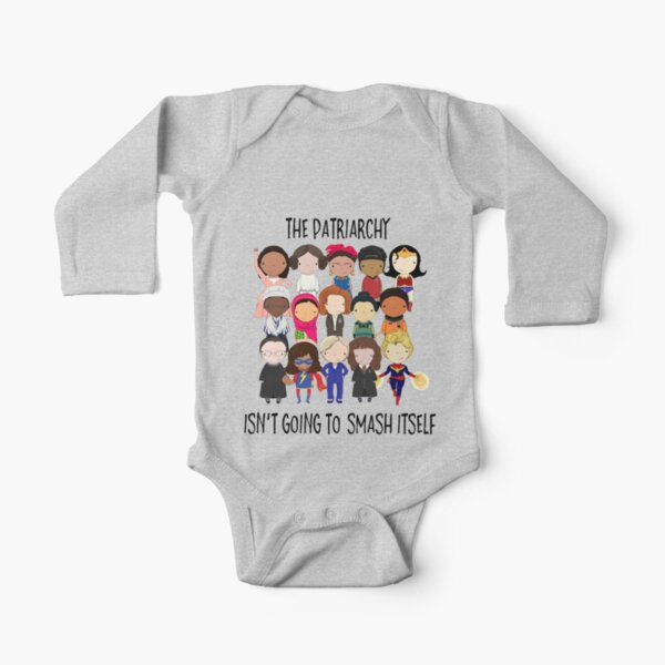 Smash the Patriarchy Long Sleeve Baby One-Piece