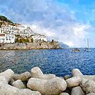 Amalfi: landscape with boats by Giuseppe Cocco
