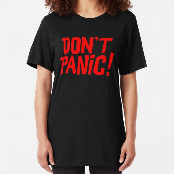 NDVH Don't Panic - Red 1 H2G2 Slim Fit T-Shirt