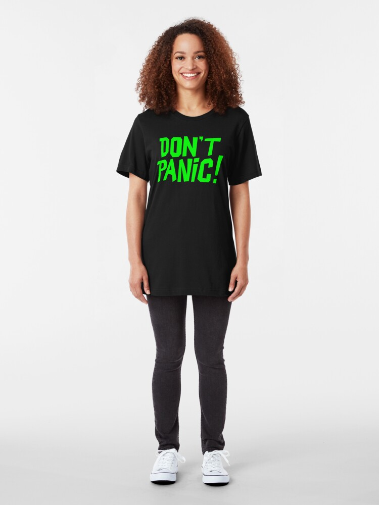 Alternate view of NDVH Don't Panic - Green 1 H2G2 Slim Fit T-Shirt