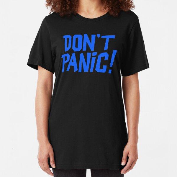 NDVH Don't Panic - Blue 1 H2G2 Slim Fit T-Shirt
