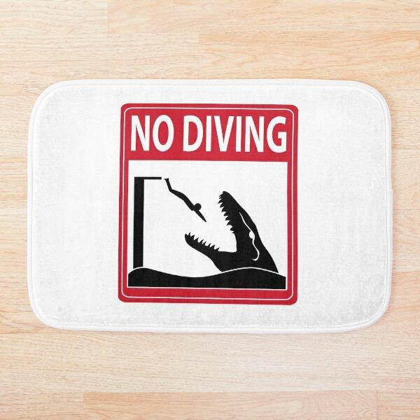 No Diving - Mosasaurus Warning Bath Mat