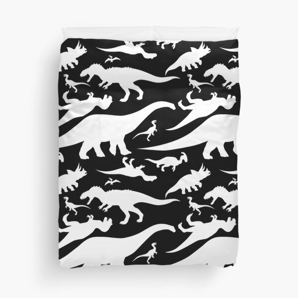 Black and White Dinosaur Pattern Duvet Cover