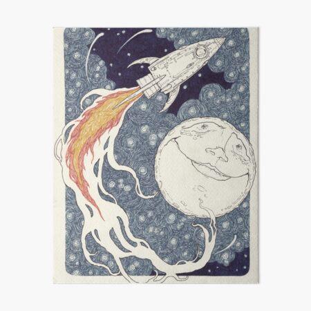 spaceship and moon Art Board Print