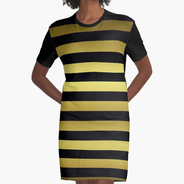 Black and Gold Jumbo Beach House Stripes Graphic T-Shirt Dress
