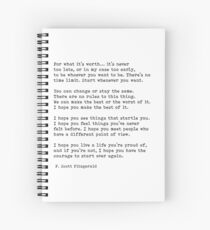 For What It's Worth, F. Scott Fitzgerald Quote Spiral Notebook
