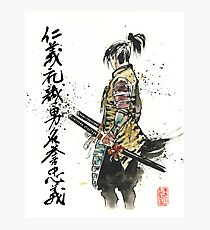 Japanese Calligraphy with Samurai with sword Photographic Print