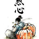 Japansese Calligraphy MUSHIN with Samurai and Pumpkin by jhjjjoo