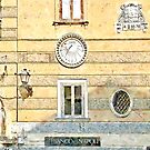 Amalfi: wall with sundial by Giuseppe Cocco