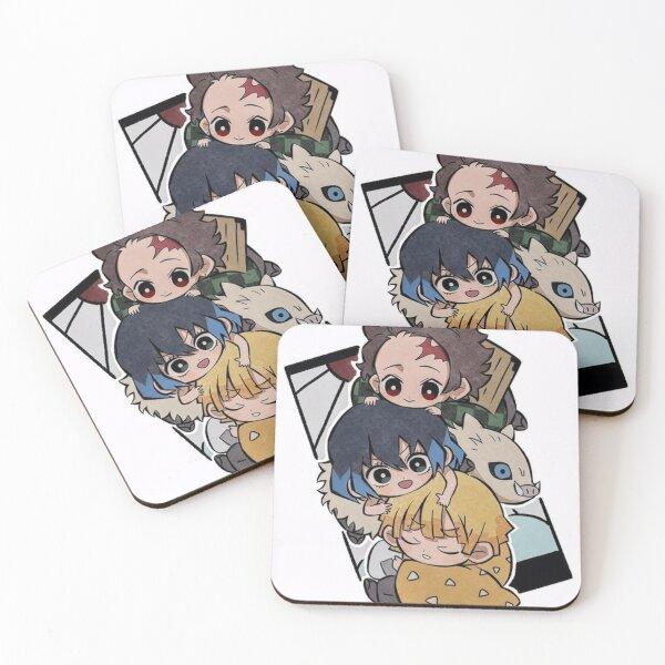 tanjiro, zenitsu, inosuke Coasters (Set of 4)