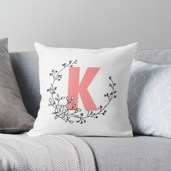 K Letter Monogram Pink with Floral Wreath Throw Pillow