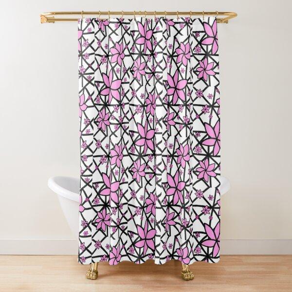Pink Lattice Flower Shower Curtain