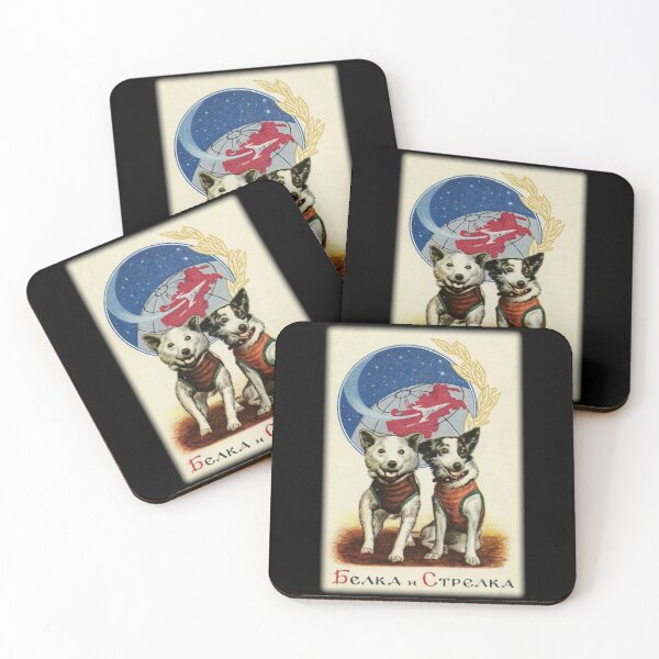 Belka and Strelka Space Dogs Coasters (Set of 4)