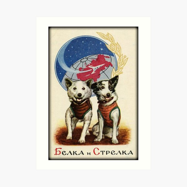 Belka and Strelka Space Dogs Art Print