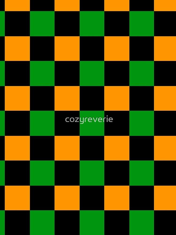 Checkered Orange, Green, Black by cozyreverie