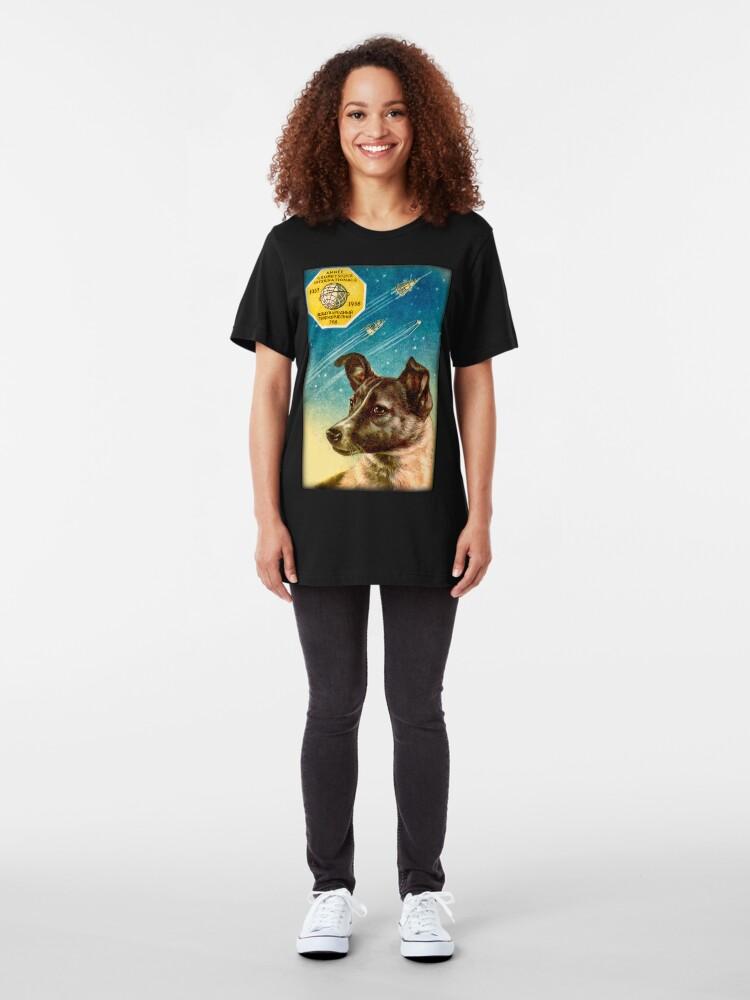 Alternative Ansicht von Laika der Sputnik 2 Russischer Raumhund! Slim Fit T-Shirt