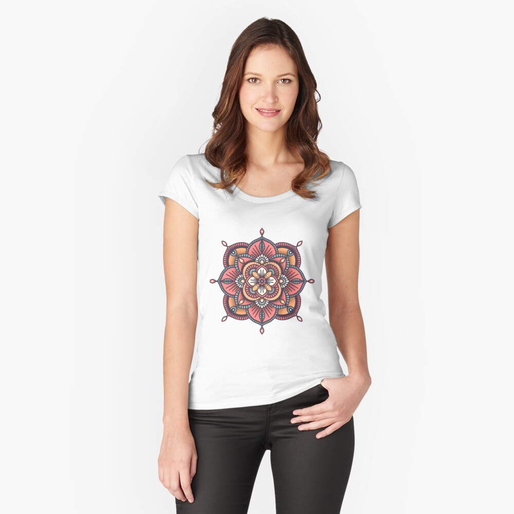 Red Mandala  Fitted Scoop T-Shirt