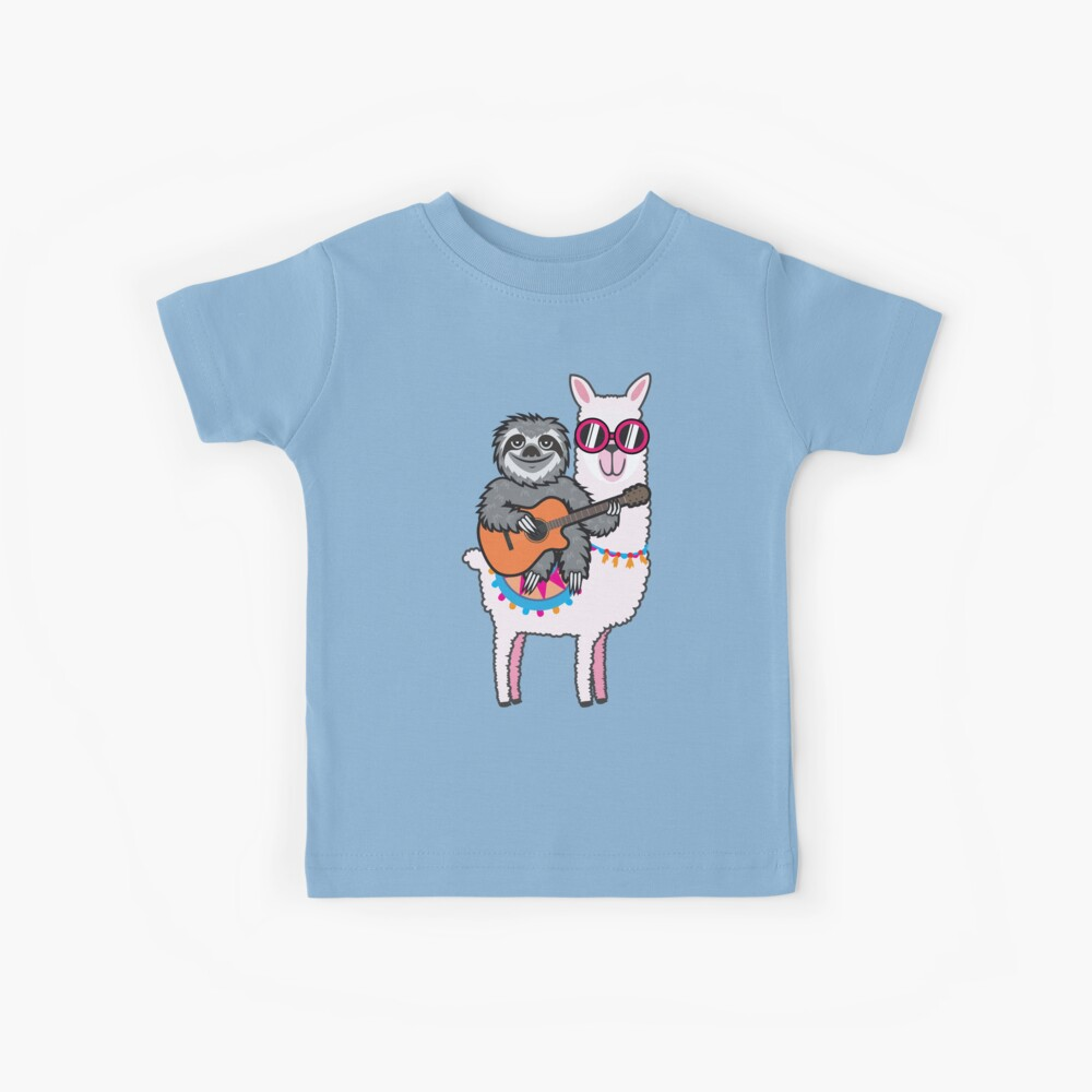 Sloth guitar llama Kids T-Shirt