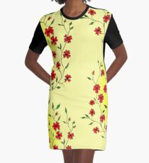 Red Blooms on a Sunshiny Day Graphic T-Shirt Dress